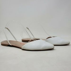H&M Sling Back Pointed Toe White Flats Shoes 8.5